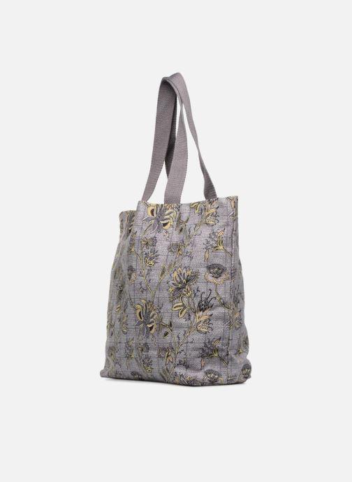Handtassen Monoprix Femme Tote-bag imprimé fleurs Paars rechts