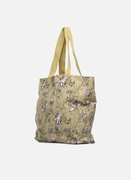 Sacs à main Monoprix Femme Tote-bag imprimé fleurs Jaune vue portées chaussures
