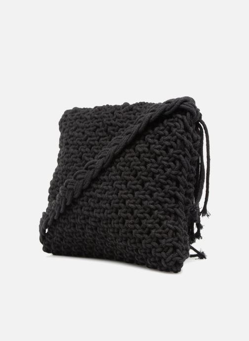 Handtassen Monoprix Femme Sac crochet à franges Zwart rechts