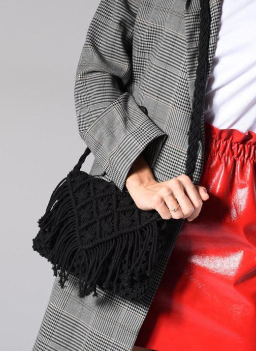 Handtassen Monoprix Femme Sac crochet à franges Zwart boven