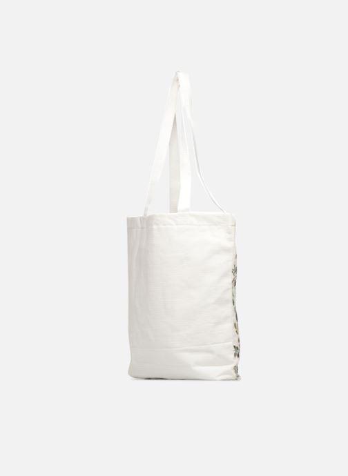 Sacs à main Monoprix Femme Tote-bag brodé fleurs Blanc vue droite