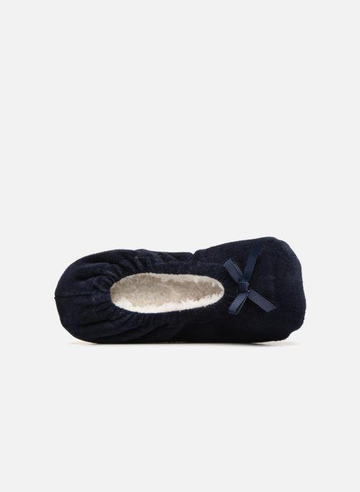 Hausschuhe Monoprix Kids Ballerines velours blau ansicht von links