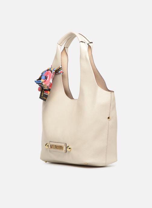 Handtaschen Love Moschino LETTERING LM Hobo weiß schuhe getragen