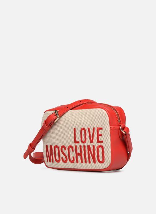 Sacs à main Love Moschino CANVAS & BRODERY Camera Bag Blanc vue portées chaussures