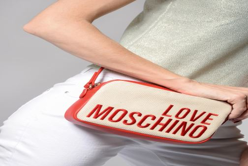 Sacs à main Love Moschino CANVAS & BRODERY Camera Bag Blanc vue bas / vue portée sac