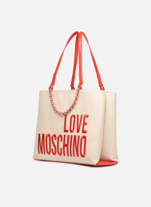 Handtaschen Love Moschino CANVAS & BRODERY Cabas weiß schuhe getragen