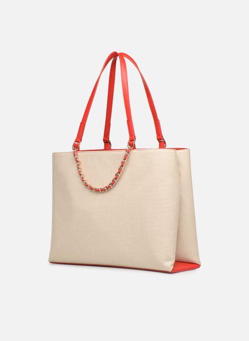Handtaschen Love Moschino CANVAS & BRODERY Cabas weiß ansicht von rechts