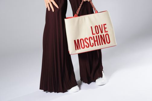 Bolsos de mano Love Moschino CANVAS & BRODERY Cabas Blanco vista de abajo
