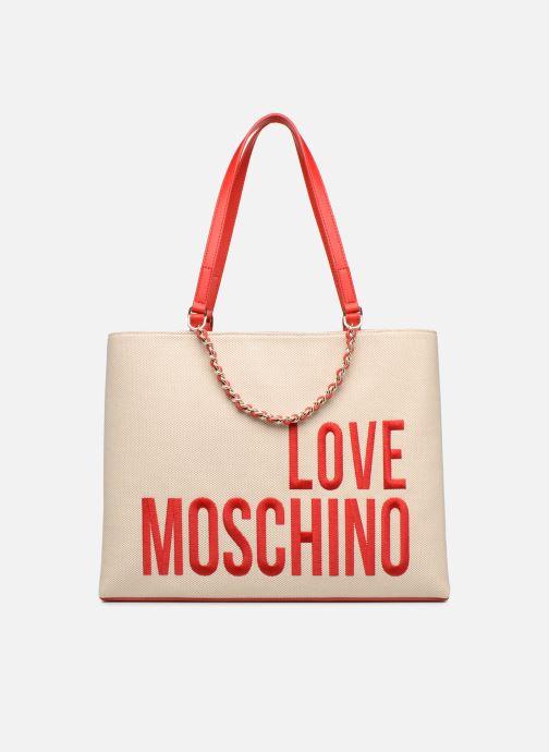 Handtaschen Love Moschino CANVAS & BRODERY Cabas weiß detaillierte ansicht/modell