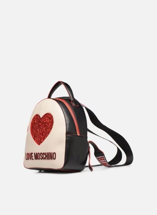 Sacs à dos Love Moschino BACK TO SCHOOL Backpack Blanc vue portées chaussures