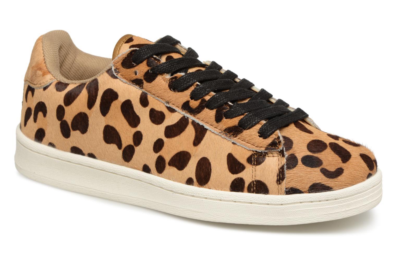 Baskets Monoprix Femme Baskets cuir poils effet léopard Beige vue détail/paire
