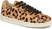 Baskets cuir poils effet léopard