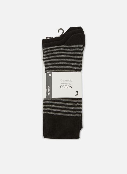 Chaussettes et collants Monoprix Homme Lot de 3 paires de chaussettes rayures Noir vue détail/paire