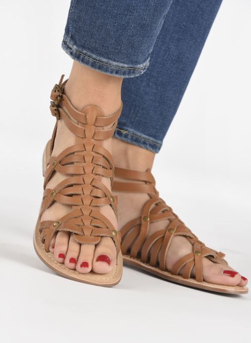 Sandals I Love Shoes KEMARY Leather Brown view from underneath / model view
