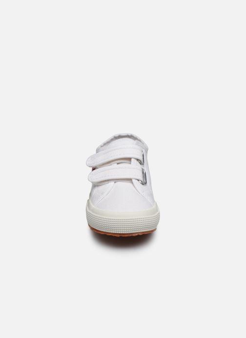 Baskets Superga 2750 J Velcro E C Blanc vue portées chaussures
