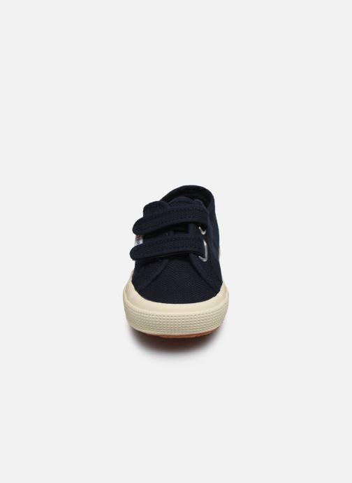 Baskets Superga 2750 J Velcro E C Bleu vue portées chaussures