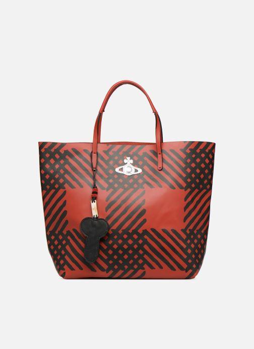 Sacs à main Vivienne Westwood Crini Check Leather Shopper Rouge vue détail/paire