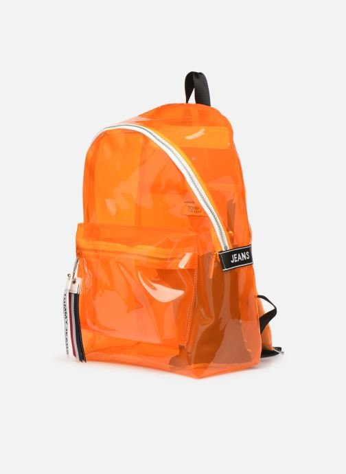 Zaini Tommy Hilfiger TJU LOGO TAPE BACKPACK TRAN Arancione modello indossato