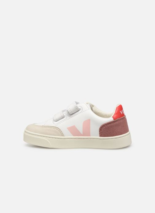 Sneakers Veja V-12 SMALL LEATHER Wit voorkant