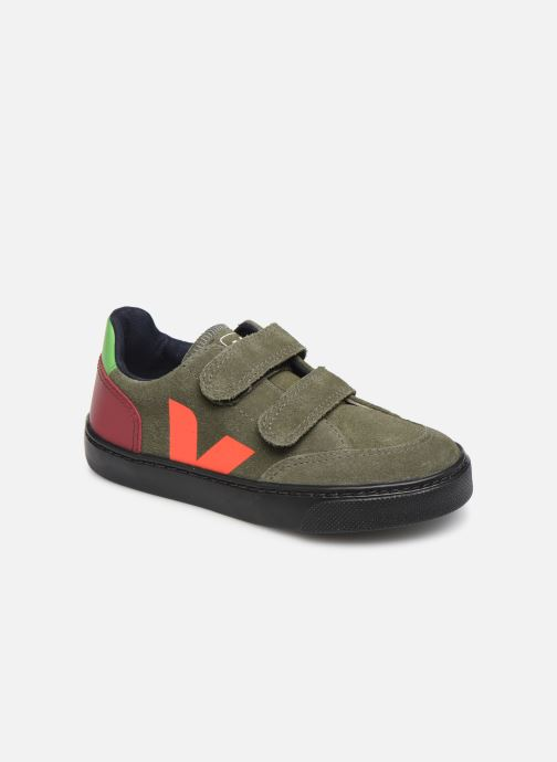 Sneakers Veja V-12 SMALL LEATHER Groen detail