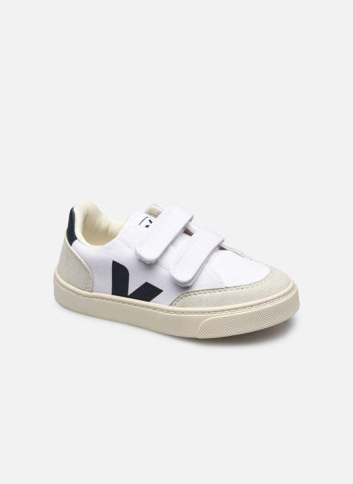 Sneakers Veja V-12 SMALL LEATHER Zwart detail