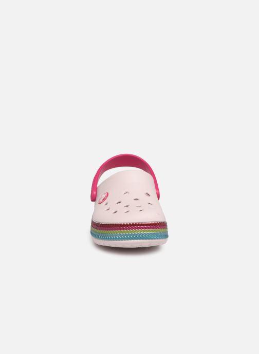 Sandales et nu-pieds Crocs Crocband Sequin Band Clog K Rose vue portées chaussures