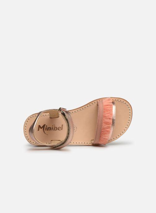 Sandalias Minibel Soriany Oro y bronce vista lateral izquierda
