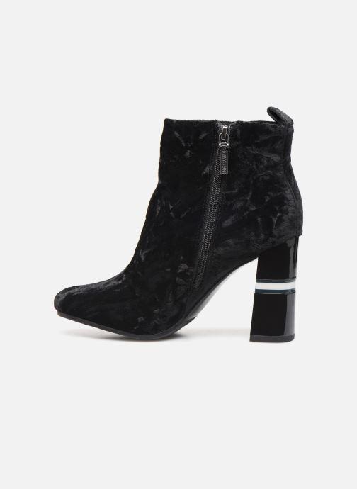 Boots en enkellaarsjes Tommy Hilfiger CRUSHED VELVET HEELED BOOT Zwart voorkant