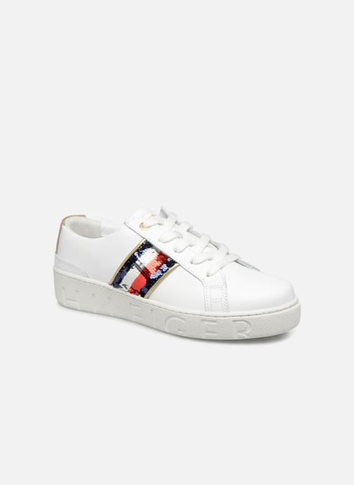 Baskets Tommy Hilfiger TOMMY SEQUINS FASHION SNEAKER Blanc vue détail/paire