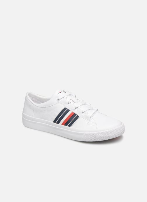Baskets Tommy Hilfiger CORPORATE LEATHER LOW SNEAKER Blanc vue détail/paire