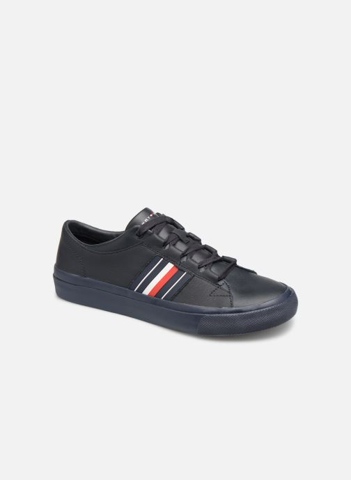 Baskets Tommy Hilfiger CORPORATE LEATHER LOW SNEAKER Bleu vue détail/paire