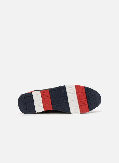 Baskets Tommy Hilfiger LEATHER MATERIAL MIX RUNNER Bleu vue haut