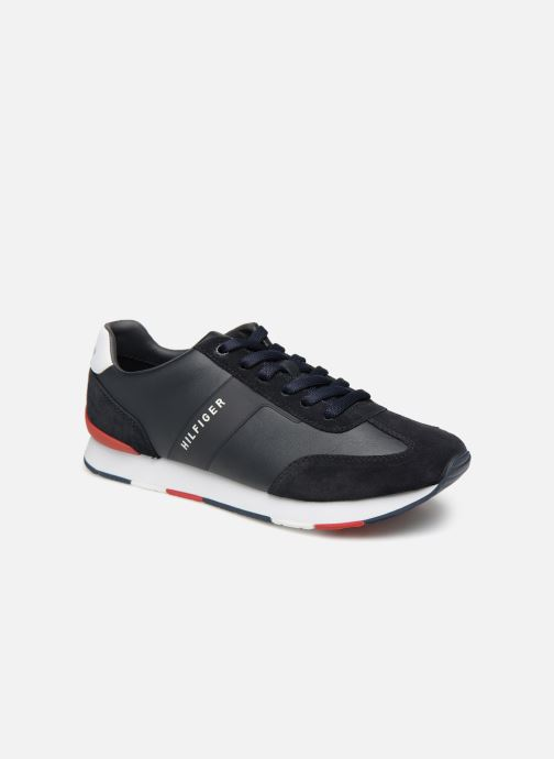 Baskets Tommy Hilfiger LEATHER MATERIAL MIX RUNNER Bleu vue détail/paire