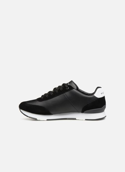 Sneakers Tommy Hilfiger LEATHER MATERIAL MIX RUNNER Zwart voorkant