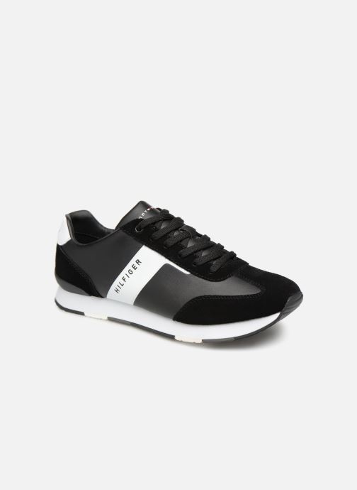 Sneakers Tommy Hilfiger LEATHER MATERIAL MIX RUNNER Sort detaljeret billede af skoene