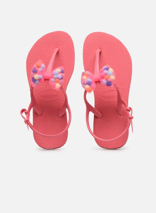 Tongs Havaianas Kids Freedom SL Pompom Rose vue portées chaussures