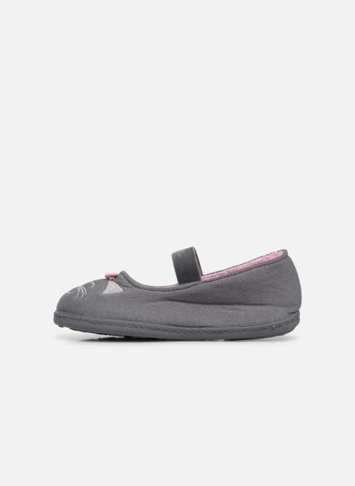 Slippers Isotoner Ballerine Gris Grey front view