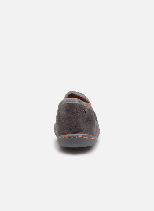 Hausschuhe Isotoner Charentaise Suédine grau ansicht von rechts