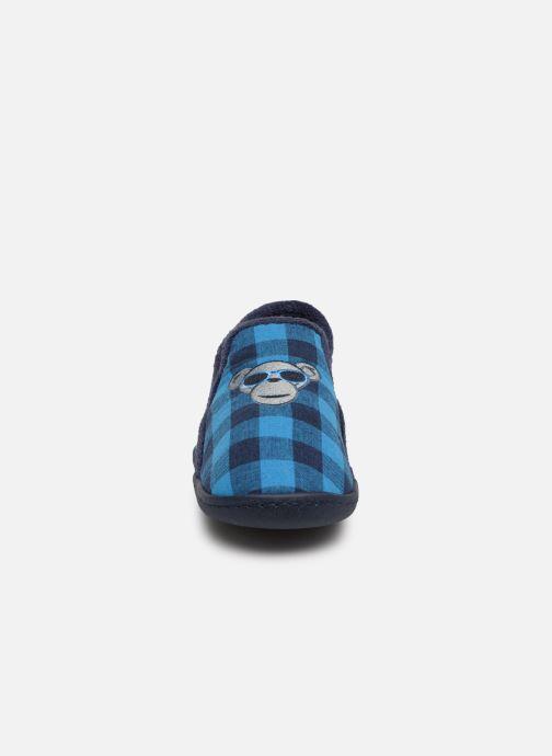 Chaussons Isotoner Mocassins Jersey 3 Bleu vue portées chaussures