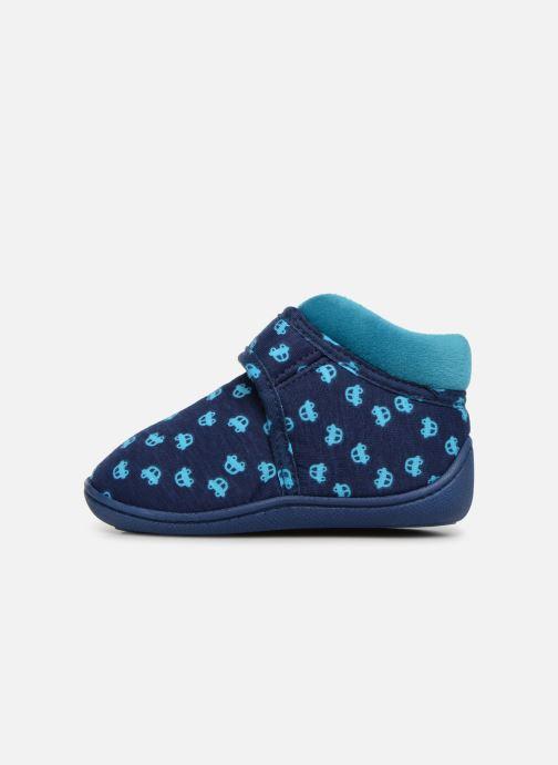 Chaussons Isotoner Botillon Velcro Jersey Bleu vue face
