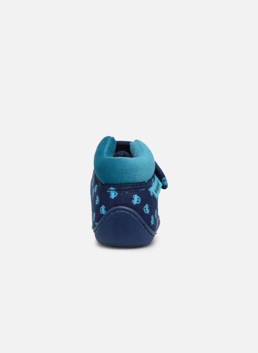 Pantuflas Isotoner Botillon Velcro Jersey Azul vista lateral derecha