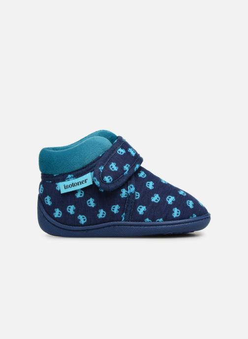 Chaussons Isotoner Botillon Velcro Jersey Bleu vue derrière