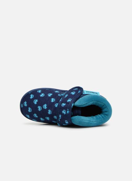 Pantuflas Isotoner Botillon Velcro Jersey Azul vista lateral izquierda