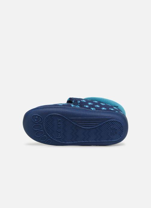 Chaussons Isotoner Botillon Velcro Jersey Bleu vue haut