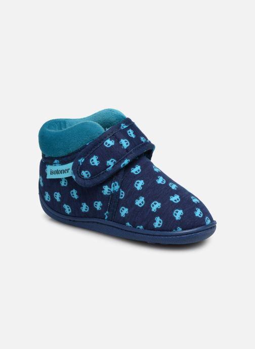 Pantuflas Isotoner Botillon Velcro Jersey Azul vista de detalle / par