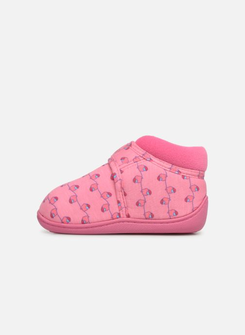 Chaussons Isotoner Botillon Velcro Jersey Rose vue face