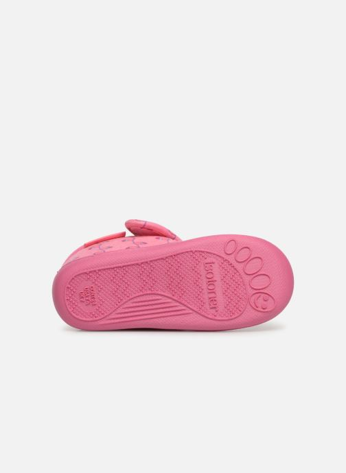Slippers Isotoner Botillon Velcro Jersey Pink view from above