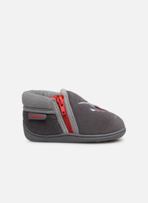 Slippers Isotoner Botillons Zip Velours 2 Grey back view