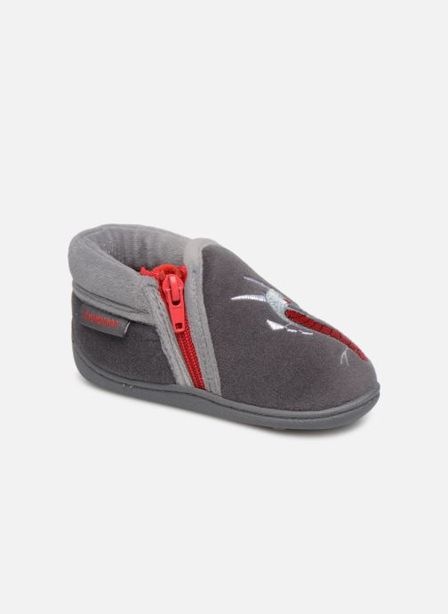 Slippers Isotoner Botillons Zip Velours 2 Grey detailed view/ Pair view
