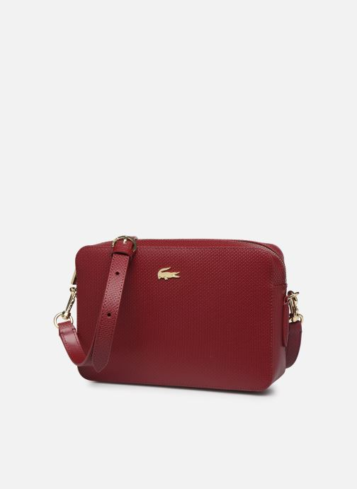 Handtaschen Lacoste CHANTACO CUIR SQUARE CROSSOVER BAG weinrot schuhe getragen
